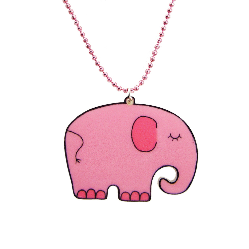 Pink Elephant Acrylic Children's Necklace