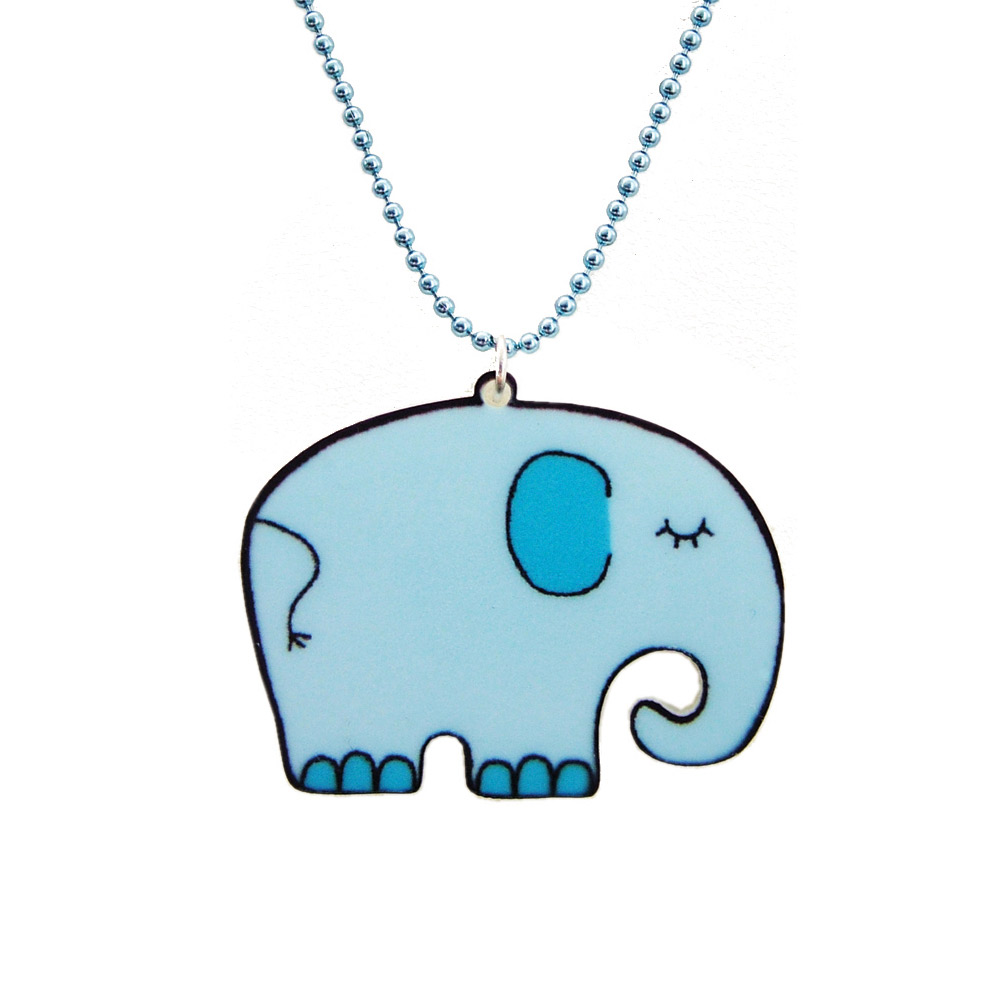 Blue Elephant Acrylic Children's Necklace