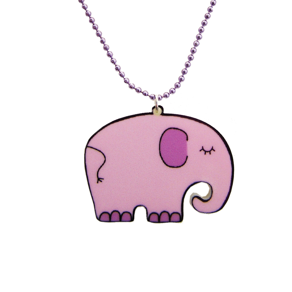 Lilac Elephant Acrylic Children's Necklace