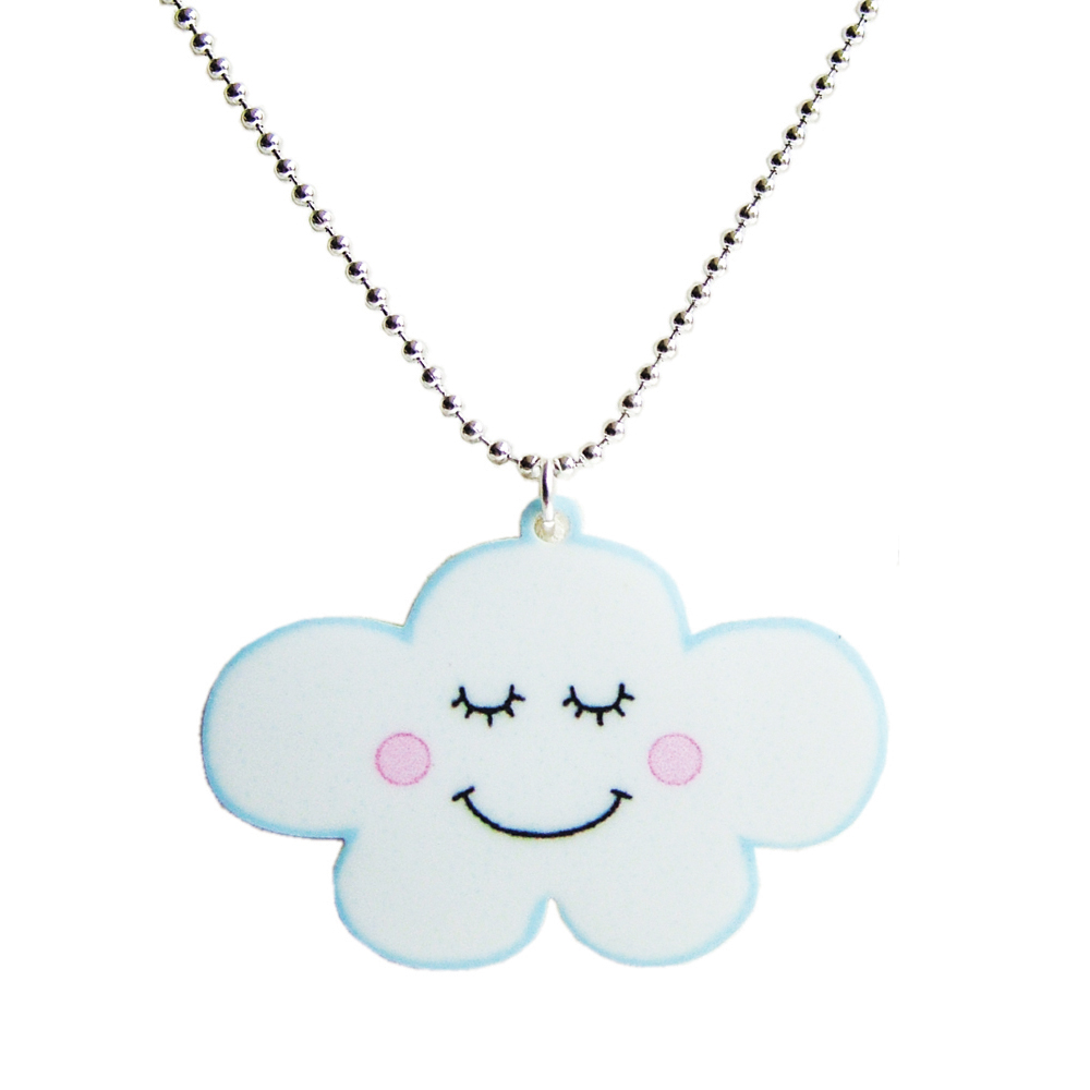 Cute Cloud Acrylic Necklace - Kawaii Childrens Jewellery