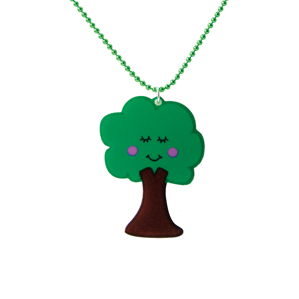 Cute Tree Acrylic Necklace - Kawaii Necklace - Leafy the Tree a Hoobynoo World Character